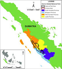 Red Line Map Map Of Kerinci Seblat National Park Indonesia The Area