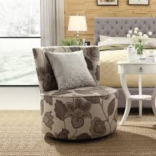 Swivel Accent Chairs by Oxford Creek Transitional Blake Grey Floral Swivel Accent Chair