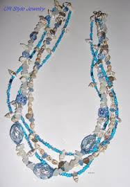 blue shell necklace images Blue shell glass crystal chip stone rondelle layered necklace ur JPG
