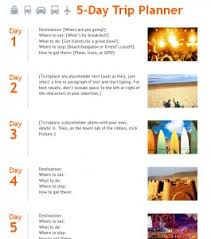 trip planner templates 5 day trip planner template template haven