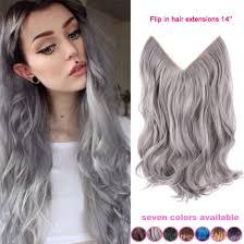 14 inch hair extensions 14 inch no clip hair flip halo hair extension silver gray hair