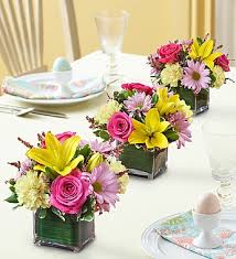easter centerpiece easter centerpiece trio pastel roses lilies poms carnations