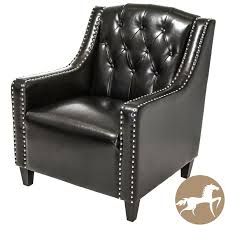 black leather club chair and ottoman christopher knight home gabriel tufted black leather club high back