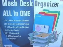 all in one desk organizer mesh desk organizer all in one wire with tiered file holders
