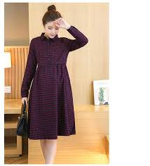 long plaid maternity dress clothes casual pregnancy wear vestidos
