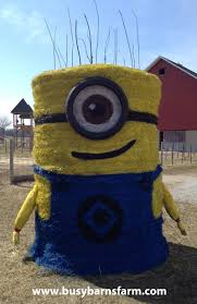busy barns farm despicable me minion round bale art round bale