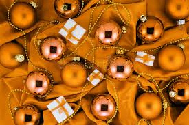 background of orange tree balls gift boxes and
