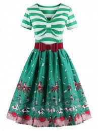 green m vintage bowknot striped printed pin up christmas dress