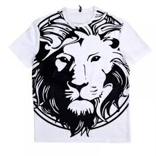 lion print buy versace crewneck white t shirt with lion head print