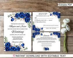 royal blue wedding invitations royal blue wedding etsy
