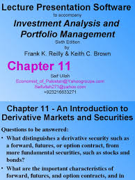 chapter 11 an introduction to derivative markets and securities