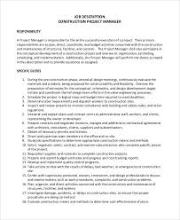 Project Manager Job Description For Resume by Sample Construction Project Manager Job Description 8 Examples