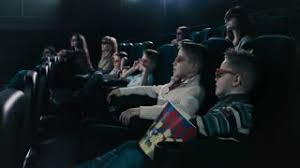 young people watch movies in cinema horror in 3d stock video
