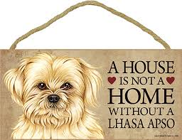 lhasa apso wood sign wall plaque 5 x 10 bonus coaster