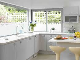 modern white kitchen decor with open views glass kitchen window