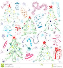 colorful children drawings of fir trees funny doodle winter