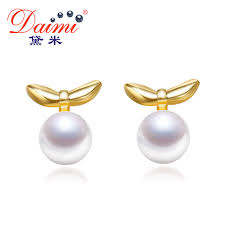 in earrings daimi tiny small leaves earrings 6 7mm flat white yellow pearl