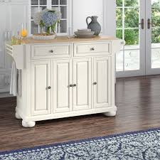kitchen island with darby home co pottstown kitchen island with wood top reviews