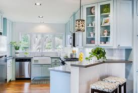 White And Blue Kitchen Cabinets by Furniture Beautiful Kitchen With Blue Glazed Kitchen Cabinets And
