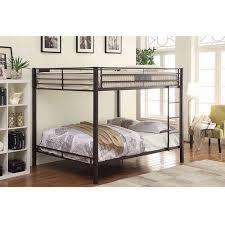 ACME Limbra Queen Over Queen Metal Bunk Bed Black Sand Walmartcom - Queen bed with bunk over