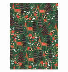 green christmas wrapping paper reindeer wrapping sheets by rifle paper co made in usa