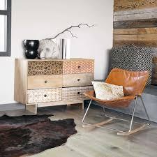 Esszimmer Deko Vintage Schaukelstuhl Aus Leder Cognacfarben Vintage Sessel