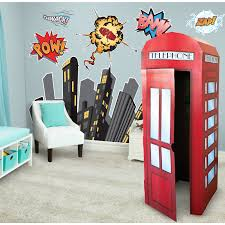 Superman Bedroom Ideas by Superhero Comics Giant Wall Decal And Standup Kit