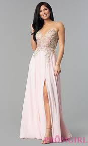 what to wear with a light pink dress illusion v neck open back long prom dress promgirl