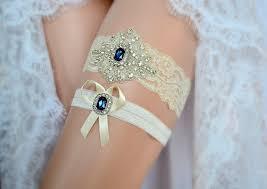 garters for wedding ivory sapphire blue wedding bridal lace garter set