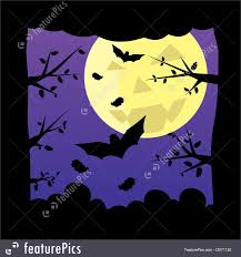 halloween background with purple halloween dark night forest moon background stock illustration