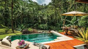 balinese style swimming pool design for small spaces with wooden