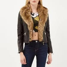 river island black leather look faux fur biker jacket in black lyst