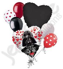 valentines baloons 7 pc wars darth vader heart happy valentines day balloon