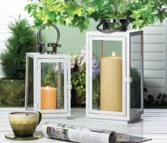 3 white sleek carrel candle lantern table wedding centerpieces