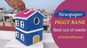 newspaper piggy bank diy best out of waste newspaper craft