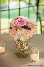 romantic pink and purple low centerpiece in mercury glass the