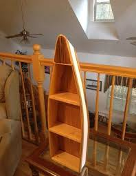 Canoe Shaped Bookshelf Rabon River Runners Wooden Boat Shelves Home Decor Cabin Decor