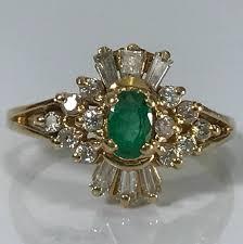 antique emerald ring diamond halo 14k yellow gold art deco