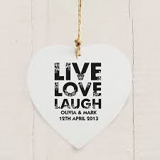 Love Laugh Live Live Love Laugh Personalised Wooden Heart By Hope And Willow