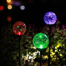 multi colored solar garden lights shop for gigalumi outdoor solar garden lights 3 pack cracked glass
