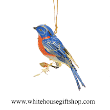 blue bird ornament summer sale 24kt gold plated white house