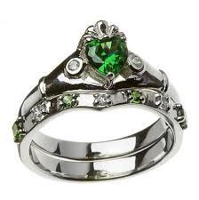 green wedding rings sterling silver green white cz claddagh ring wedding ring set