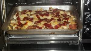 Bacon Toaster Roasted Red Potatoes With Turkey Bacon Cooked In The Toaster Oven