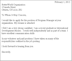volunteer cover letter letter example
