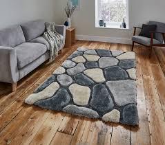 grey u0026 blue pebble rug shaggy pile noble house soft hand tufted