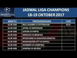 Jadwal Liga Chion Jadwal Siaran Langsung Liga Chions 18 19 Oktober 2017