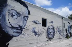 salvador dali street mural at wynwood design district miami fl