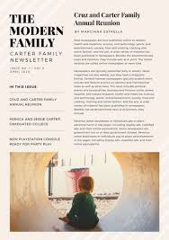 black cream and white stripes family newsletter templates by canva