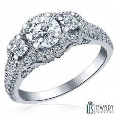 Circle Diamond Wedding Ring by Captivating Double Row 1 38 Carat 3 Stone Round Diamond Engagement