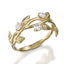 engagement rings with leaves leaves engagement ring deco engagement ring 14k yellow gold